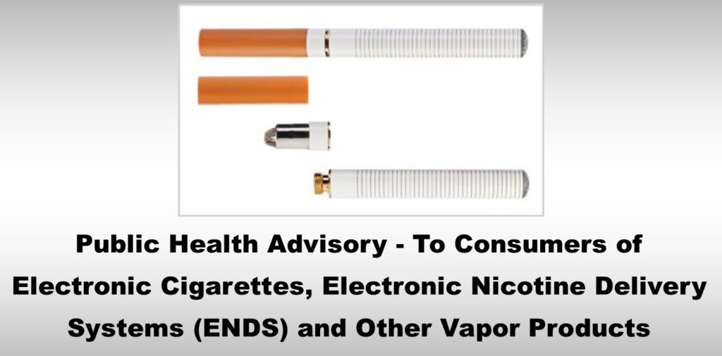 Public Health Advisory- To Consumers of Electronic Cigarettes, Electronic  Nicotine Delivery Systems (ENDS) and Other Vapor Products - Arkansas Cancer  Coalition
